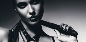 Woman with bondage gear